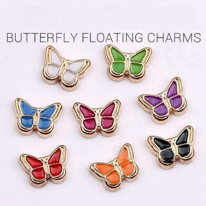 Feshionn IOBI Charms White Colorful Enamel Butterfly Free Floating Charm for Charm Locket Necklaces ~ Choose Your Color