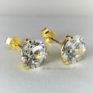 Feshionn IOBI Earrings 0.25 Carat Elite D'ora Round Three Prong Yellow Gold IOBI Cultured Diamond Solitaire Stud Earrings