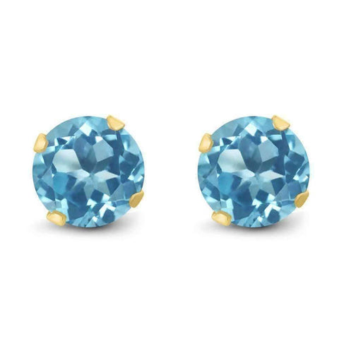 Feshionn IOBI Earrings 1.20CTW Genuine Natural Blue Topaz IOBI Precious Gems Stud Earrings