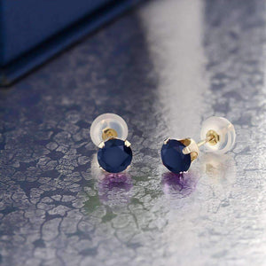 Feshionn IOBI Earrings 1.20CTW Genuine Sapphire IOBI Precious Gems Stud Earrings