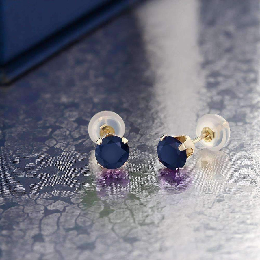 Feshionn IOBI Earrings Sapphire 1.20CTW Genuine Sapphire IOBI Precious Gems Stud Earrings