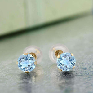 Feshionn IOBI Earrings 1.20CTW Genuine Sky Blue Topaz IOBI Precious Gems Stud Earrings
