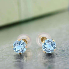 1.20CTW Genuine Sky Blue Topaz 10K Yellow Gold IOBI Precious Gems Stud Earrings