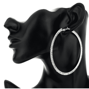 Feshionn IOBI Earrings 10cm / Celebrity Silver Bling It On Oversize Crystal Hoop Earrings