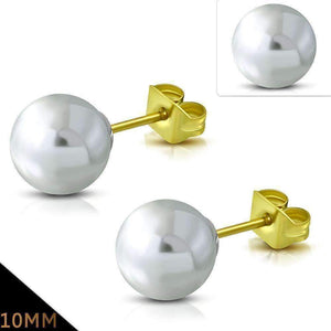 Feshionn IOBI Earrings 10mm / Snowy White ON SALE - Snowy White Pearl Bead Solitaire Stud Earrings 18K Gold Plated Stainless Steel