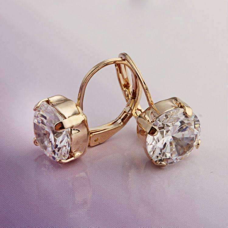 Feshionn IOBI Earrings Yellow Gold 18K Gold Filled with Solitaire Austrian Crystal Earrings