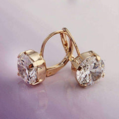 18K Gold Filled with Solitaire Austrian Crystal Earrings