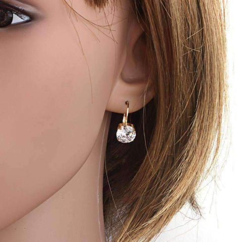 Feshionn IOBI Earrings 18K Gold Filled with Solitaire Austrian Crystal Earrings
