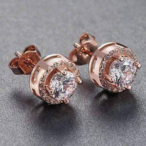 Feshionn IOBI Earrings 18K Rose Gold plated ON SALE - Enchanted Halo Crystal Stud Earrings