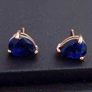 Feshionn IOBI Earrings 18K Rose Gold Sapphire Blue Pear Cut Zirconia 1.3CT Solitaire Stud Earrings