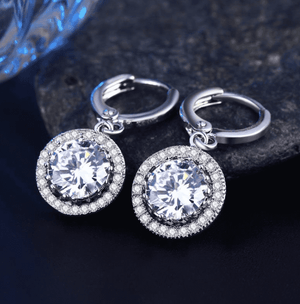 Feshionn IOBI Earrings 18K White Gold Plated Glorious Halo 2.4CTW  Swiss CZ Drop Hoop Earrings