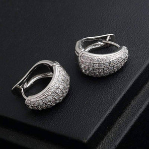 Feshionn IOBI Earrings 18K White Gold Plating CZ Encrusted Creole Hoop Earrings in 18K White or Yellow Gold