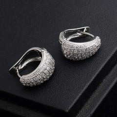 ON SALE - CZ Encrusted Creole Hoop Earrings in 18K White or Yellow Gold