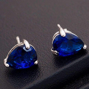 Feshionn IOBI Earrings 18K White Gold Sapphire Blue Pear Cut Zirconia 1.3CT Solitaire Stud Earrings