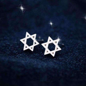 Feshionn IOBI Earrings 18K White Gold Star of David Silhouette Sterling Silver Stud Earrings