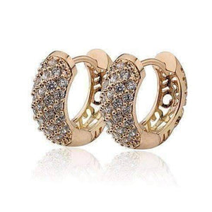 Feshionn IOBI Earrings 18K Yellow Gold OB Youthful Collection - Petite Diamond Pave Platinum or 18K Yellow Gold Filigree Hoop Earrings