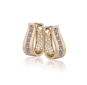 Feshionn IOBI Earrings 18K Yellow Gold ON SALE - OB Youthful Collection - Crystal Diamonds Channel Set Filigree Hoop Earrings