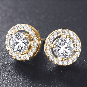 Feshionn IOBI Earrings 18K Yellow Gold Plated ON SALE - Enchanted Halo Crystal Stud Earrings