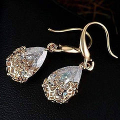 Feshionn IOBI Earrings 18K Yellow Gold Plated ON SALE - Infused Diamond Dust Dangling Earrings