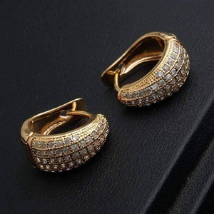 Feshionn IOBI Earrings 18K Yellow Gold Plating CZ Encrusted Creole Hoop Earrings in 18K White or Yellow Gold