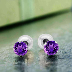 Feshionn IOBI Earrings 1CTW Genuine Amethyst 10K White Gold IOBI Precious Gems Stud Earrings