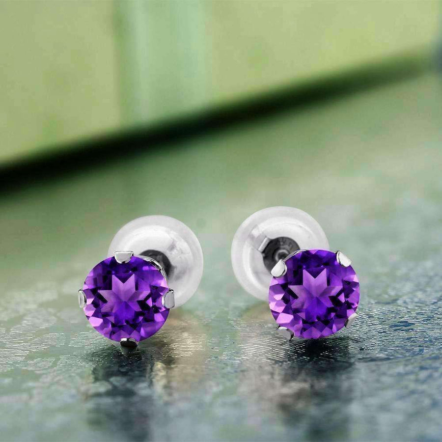 Feshionn IOBI Earrings Amethyst 1CTW Genuine Amethyst 10K White Gold IOBI Precious Gems Stud Earrings