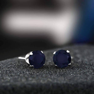 Feshionn IOBI Earrings 2.12CTW Genuine Sapphire IOBI Precious Gems Stud Earrings