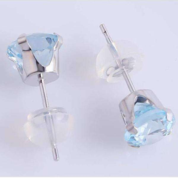 Feshionn IOBI Earrings Sky Blue 2.39CTW Genuine Sky Blue Topaz IOBI Precious Gems Stud Earrings