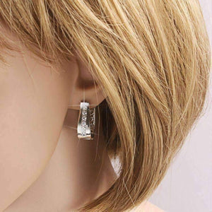 Feshionn IOBI Earrings 2 in 1 Platinum Plated with Crystal Diamonds Filigree Hoop Earrings