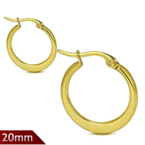 Feshionn IOBI Earrings 20mm Highly Polished Gold Plated Stainless Steel Hoop Earrings Available in Two Sizes
