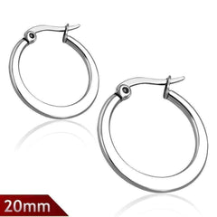 Highly Polished Stainless Steel Classic Hoop Earrings Available in Two Sizes