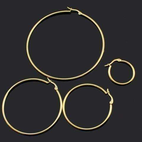 Feshionn IOBI Earrings Gold Plated Tubular Stainless Steel Classic Hoop Earrings Available in Four Sizes
