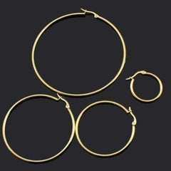 ON SALE - Gold Plated Tubular Stainless Steel Classic Hoop Earrings Available in Four Sizes