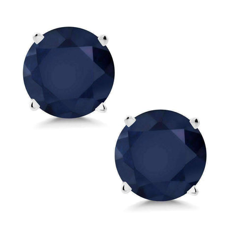 Feshionn IOBI Earrings 2CTW Genuine Sapphire 14K White Gold IOBI Precious Gems Stud Earrings
