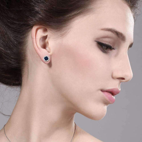 Feshionn IOBI Earrings 2CTW Genuine Sapphire Stud With Removable Halo Jacket IOBI Precious Gems Earrings