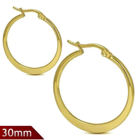 Feshionn IOBI Earrings 30mm Highly Polished Gold Plated Stainless Steel Hoop Earrings Available in Two Sizes