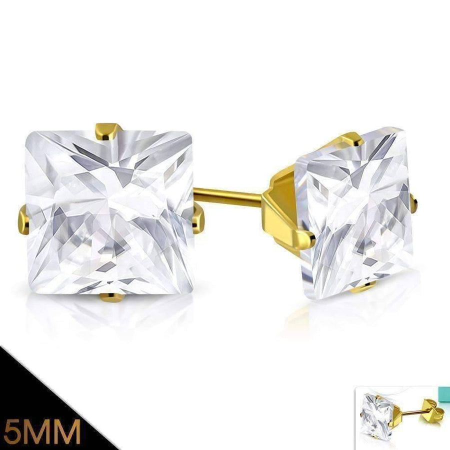 Feshionn IOBI Earrings 7mm / 18K Gold Plated ON SALE - Princess Cut Swiss Cubic Zirconia Stud Earrings 18K Gold Plated 316 Stainless Steel