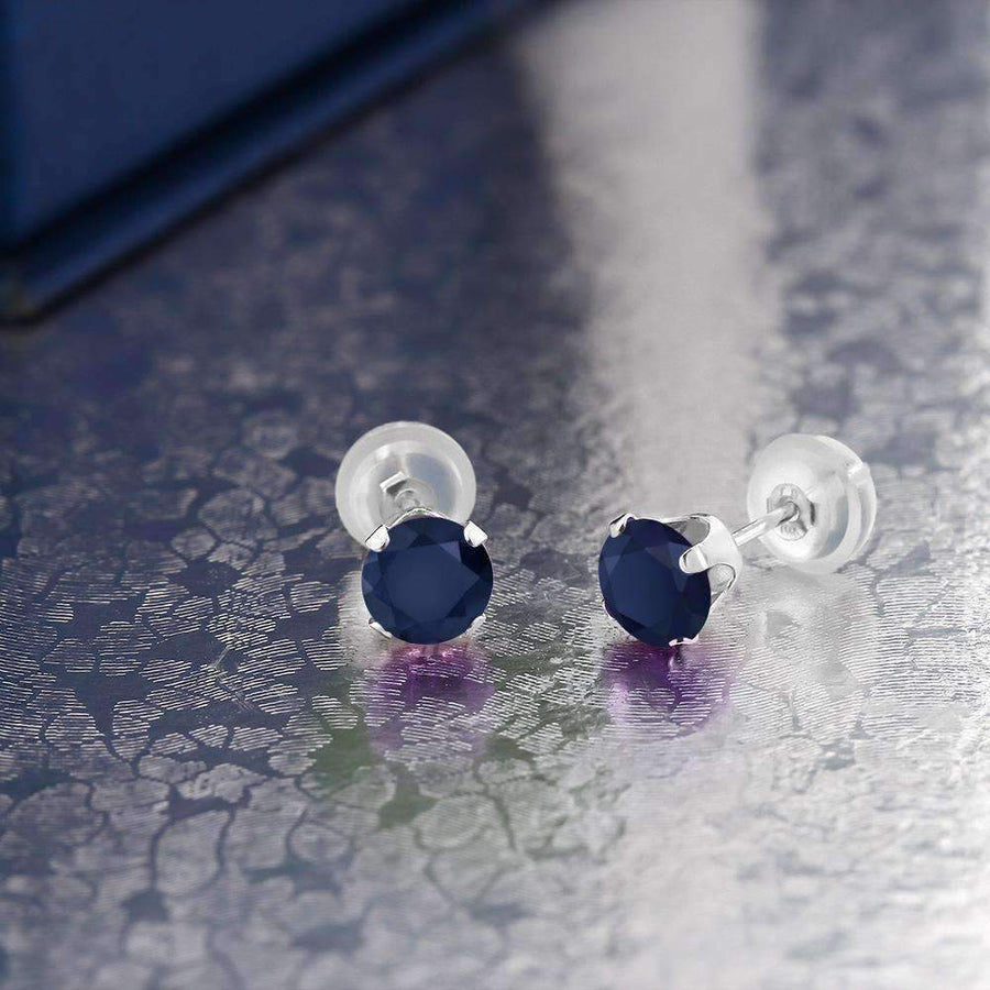 Feshionn IOBI Earrings Sapphire .72CTW Genuine Sapphire IOBI Precious Gems Stud Earrings