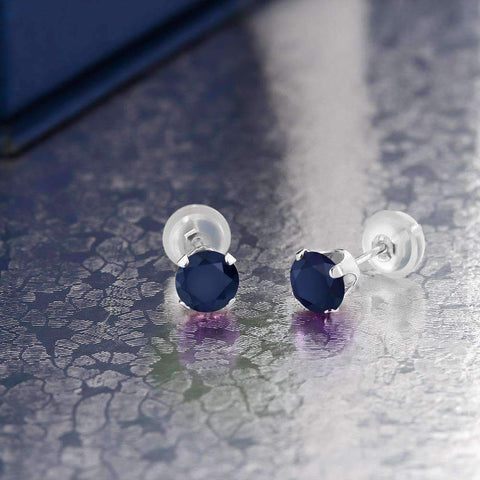 Feshionn IOBI Earrings .72CTW Genuine Sapphire IOBI Precious Gems Stud Earrings
