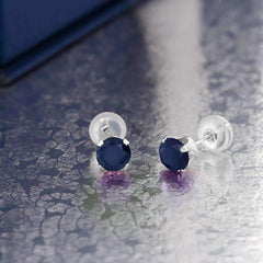 .72CTW Genuine Sapphire 10K White Gold IOBI Precious Gems Stud Earrings