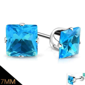 Feshionn IOBI Earrings 7mm / Aqua ON SALE - Aqua Princess Cut Swiss Cubic Zirconia Stud Earrings 316 Stainless Steel