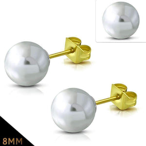 Feshionn IOBI Earrings 8mm / Snowy White ON SALE - Snowy White Pearl Bead Solitaire Stud Earrings 18K Gold Plated Stainless Steel
