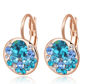 Feshionn IOBI Earrings All Aqua Party Confetti Austrian Crystal Rose Gold Plated Leverback Earrings