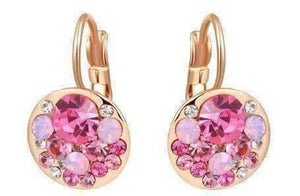 Feshionn IOBI Earrings All Pink Party Confetti Austrian Crystal Rose Gold Plated Leverback Earrings