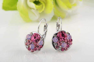 Feshionn IOBI Earrings All Pink Party Confetti Austrian Crystal White Gold Plated Leverback Earrings