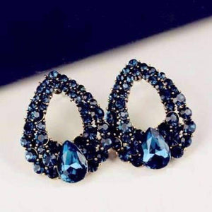 Feshionn IOBI Earrings Alluring Sapphire Blue Austrian Crystal Cocktail Earrings