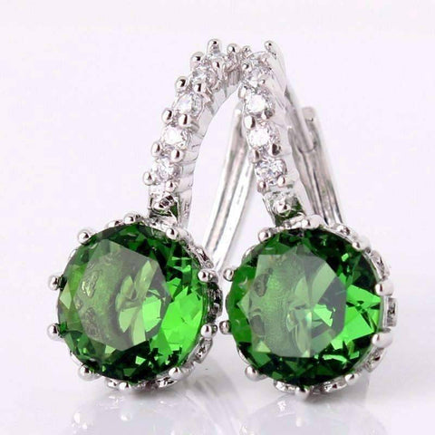 Feshionn IOBI Earrings Amazon Green on White Gold Exotic Gems CZ Solitaire Hoop Earrings