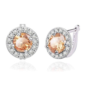 Feshionn IOBI Earrings Amber ON SALE - Round Cut Halo Earrings in Five Elegant Colors