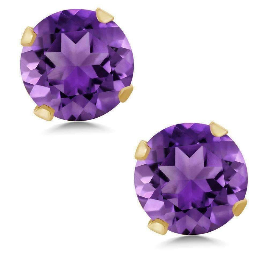 Feshionn IOBI Earrings 1CTW Genuine Amethyst 14K Yellow Gold IOBI Precious Gems Stud Earrings