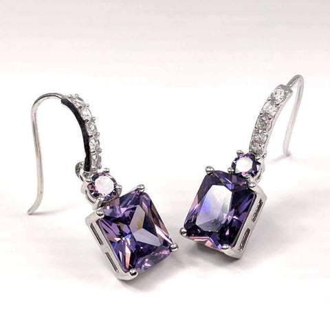 Feshionn IOBI Earrings Amethyst Exquisite Emerald Cut 4CT Dangling CZ Earrings